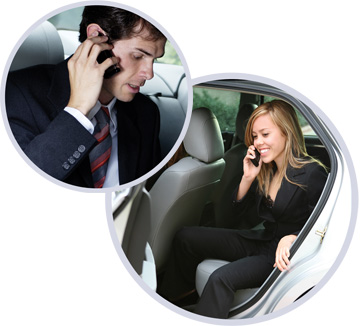 Business man and woman on talking on their mobile phones